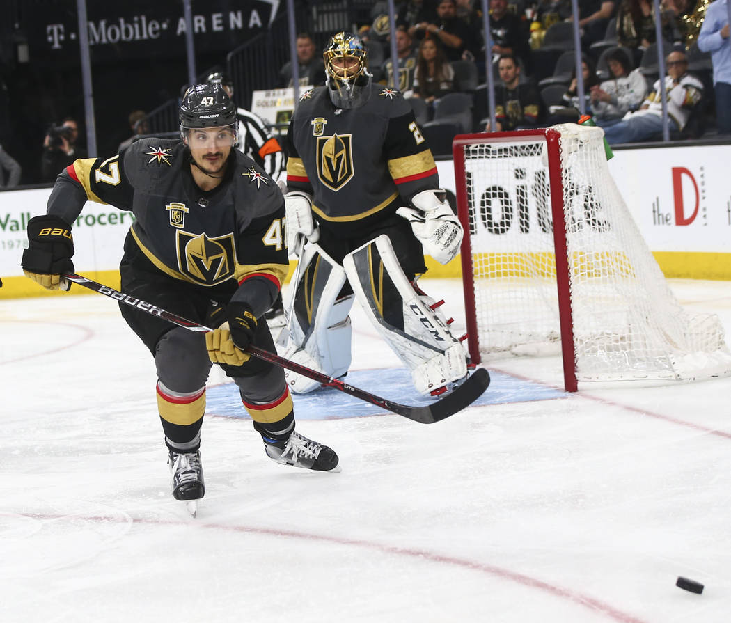 Golden Knights defenseman Luca Sbisa (47) goes after the puck during the second period of Game 5 of an NHL hockey second-round playoff series against the San Jose Sharks at T-Mobile Arena in Las V ...