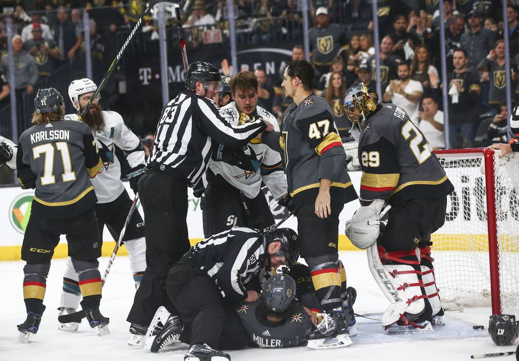 Golden Knights and San Jose Sharks get into a scuffle during the second period of Game 5 of an NHL hockey second-round playoff series at T-Mobile Arena in Las Vegas on Friday, May 4, 2018. Chase S ...