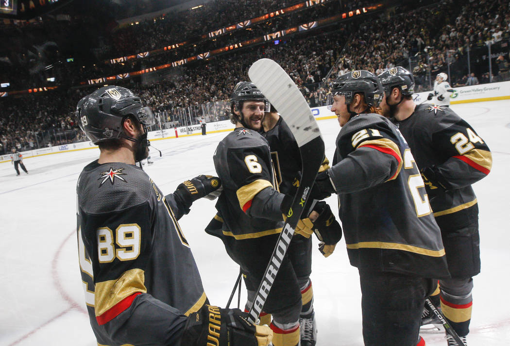 Golden Knights right wing Alex Tuch (89) celebrates his goal against the San Jose Sharks with teammates during the third period of Game 5 of an NHL hockey second-round playoff series at T-Mobile A ...