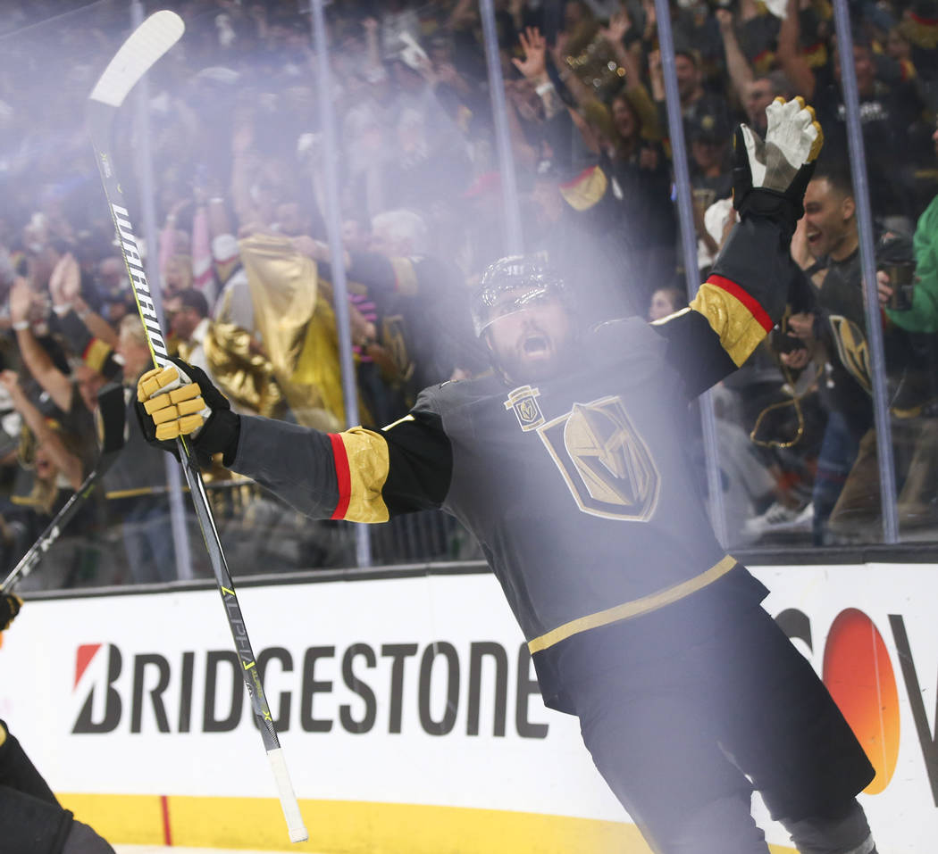 Golden Knights right wing Alex Tuch (89) celebrates his goal against the San Jose Sharks during the third period of Game 5 of an NHL hockey second-round playoff series at T-Mobile Arena in Las Veg ...