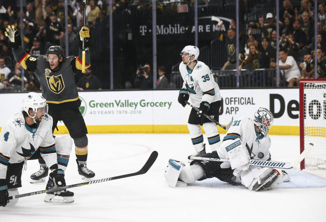 Golden Knights left wing Erik Haula (56) celebrates a goal by James Neal, not pictured, past San Jose Sharks goaltender Martin Jones (31) during the first period of Game 5 of an NHL hockey second- ...