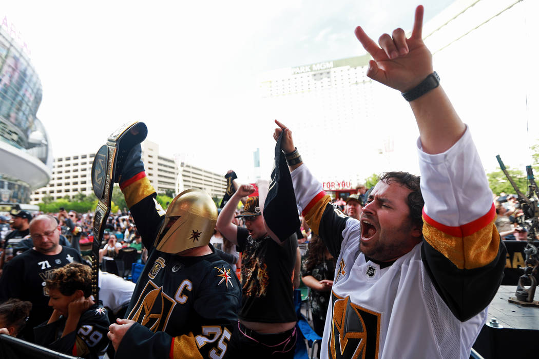 Brock Williams, 27, cheers during a Vegas Golden Knights watch party for game six of the Stanley Cup playoffs outside on Toshiba Plaza in Las Vegas on Sunday, May 6, 2018. Andrea Cornejo Las Vegas ...