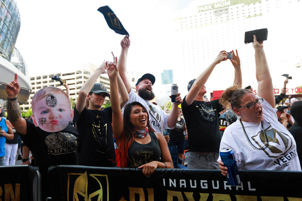 Fans cheer during a Vegas Golden Knights watch party for game six of the Stanley Cup playoffs outside on Toshiba Plaza in Las Vegas on Sunday, May 6, 2018. Andrea Cornejo Las Vegas Review-Journal ...