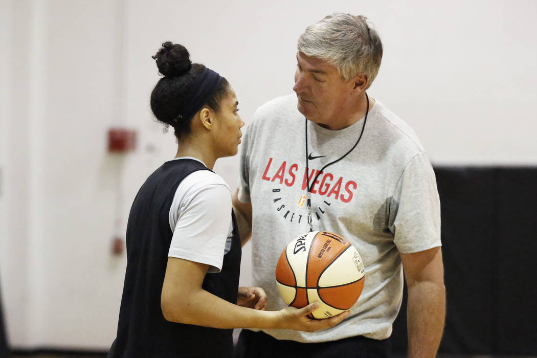 Head coach Bill Laimbeer talks to Nia Coffey, a second-year forward with the Las Vegas Aces, during practice at the Cox Pavilion practice court in Las Vegas on Saturday, May 5, 2018. Andrea Cornej ...