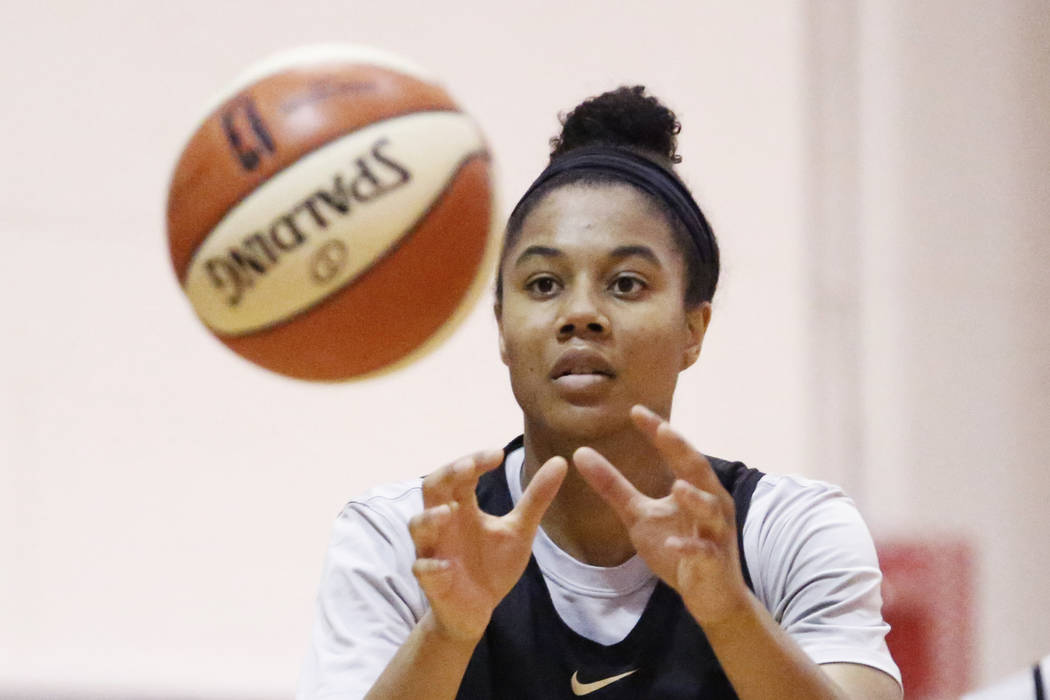 Nia Coffey, a second-year forward with the Las Vegas Aces, practices with her teammates at the Cox Pavilion practice court in Las Vegas on Saturday, May 5, 2018. Andrea Cornejo Las Vegas Review-Jo ...