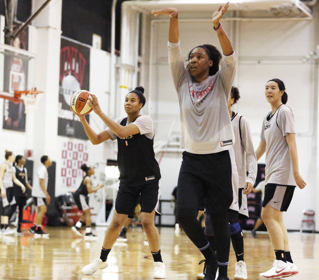 Nia Coffey, a second-year forward with the Las Vegas Aces, left, practices with her teammates at the Cox Pavilion practice court in Las Vegas on Saturday, May 5, 2018. Andrea Cornejo Las Vegas Re ...
