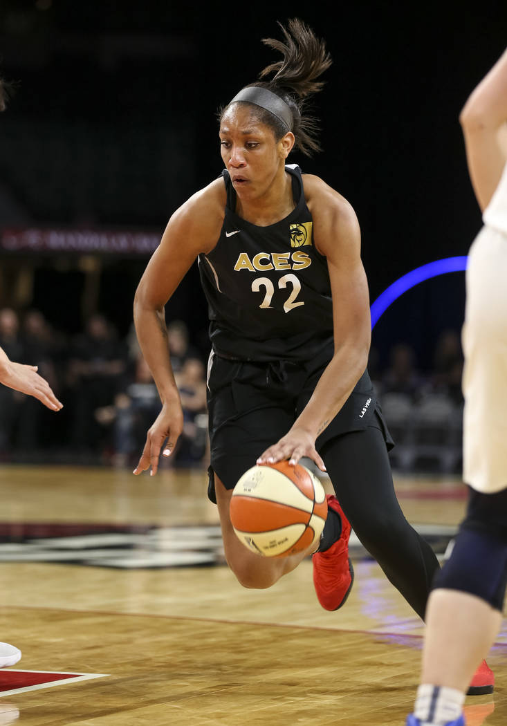 Las Vegas Aces center A'ja Wilson (22) drives the ball against the Chinese national team during a preseason basketball game at Mandalay Bay Events Center in Las Vegas on Sunday, May 6, 2018. Richa ...