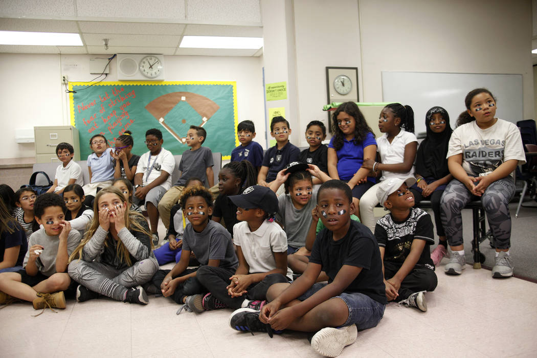 Students wait for Raiders players to speak to them at Gene Ward elementary school in Las Vegas, Wednesday, May 9, 2018. Students participated in a raiders themed drawing contest. Rachel Aston Las ...