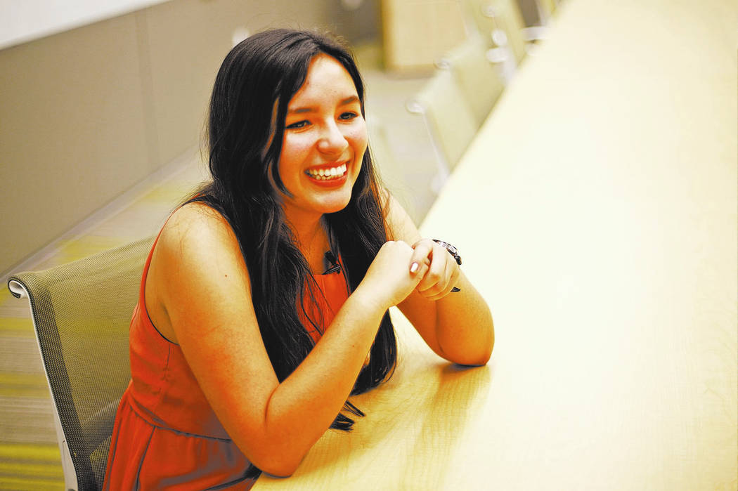 Charlotte Rosiak speaks to the Review-Journal at UNLV in Las Vegas, Tuesday, May 8, 2018. Rosiak is the youngest of the graduating class this year at 16. She majored in hospitality and plans to at ...
