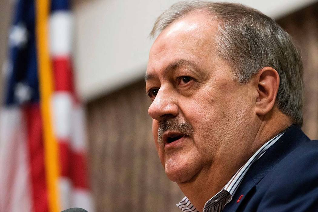 Former Massey CEO and West Virginia Republican Senatorial candidate Don Blankenship speaks during a town hall on Jan. 18, 2018, to kick off his campaign in Logan, W.Va. Blankenship went from priso ...