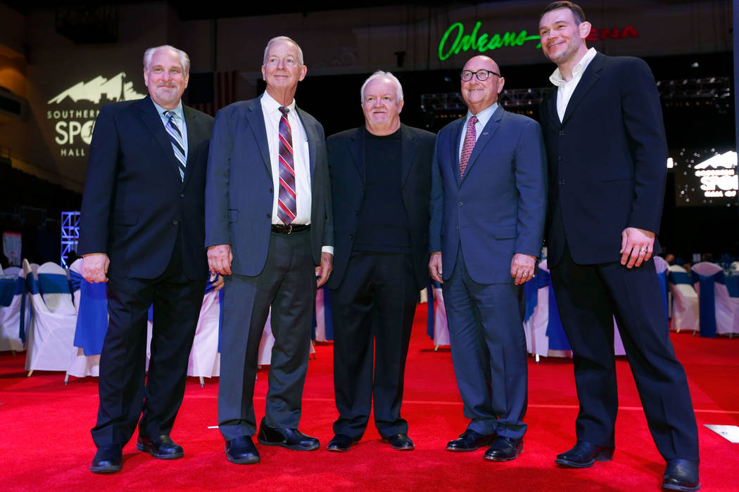 Class of 2018 inductees into the Southern Nevada Sports Hall of Fame, Al Bernstein, from left, Jim Reitz, Bob Strumm, the Las Vegas Thunder's former general manager, Rossi Ralenkotter and Forrest ...