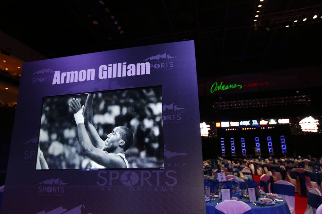 Armon Gilliam's panel is seen before the Southern Nevada Sports Hall of Fame ceremony at Orleans Arena in Las Vegas, Friday, May 11, 2018. Gilliam who passed away in 2011 was one of the 2018 indu ...