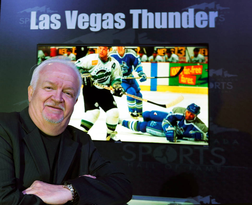 Bob Strumm, the Las Vegas Thunder's former general manager, before the Southern Nevada Sports Hall of Fame ceremony at Orleans Arena in Las Vegas, Friday, May 11, 2018. The Las Vegas Thunder hock ...