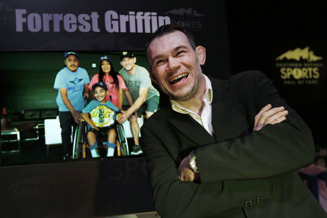 Forrest Griffin, former UFC light heavyweight champion, smiles before the Southern Nevada Sports Hall of Fame ceremony at Orleans Arena in Las Vegas, Friday, May 11, 2018. Griffin was one of the ...