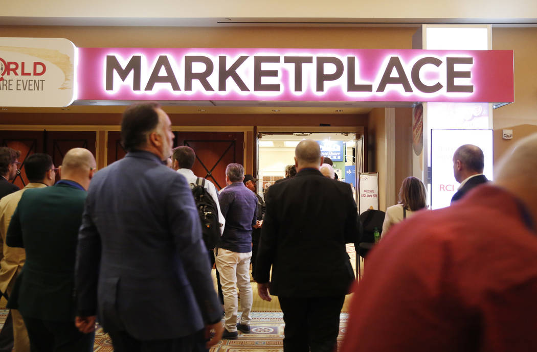 Conventiongoers arrive to attend the annual convention from the American Resort Development Association at Caesars Palace hotel-casino on Wednesday, May 9, 2018, in Las Vegas. Bizuayehu Tesfaye/La ...