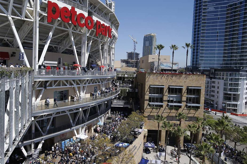 Separate shootings, just blocks away from PetCo Park on Monday, May 7, 2018, wounded five people. (AP Photo/Alex Gallardo)