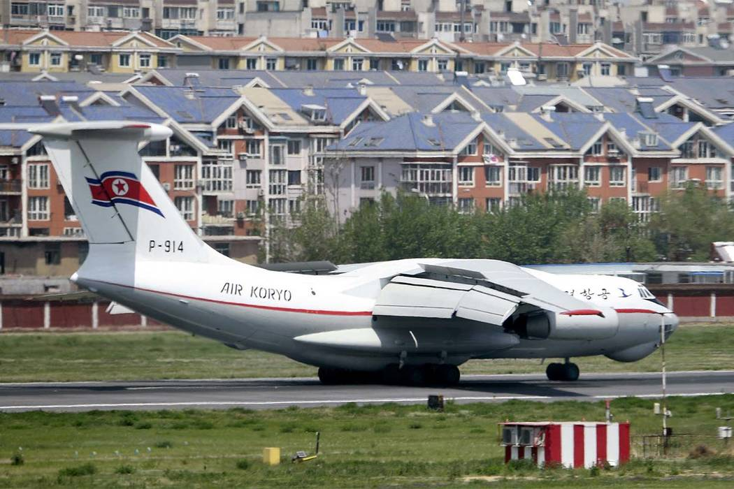 A North Korean plane lands in an airport in Dalian, China, Tuesday, May 8, 2018. The plane arrived as Japanese and South Korean media speculated that a high-ranking North Korean official was visit ...