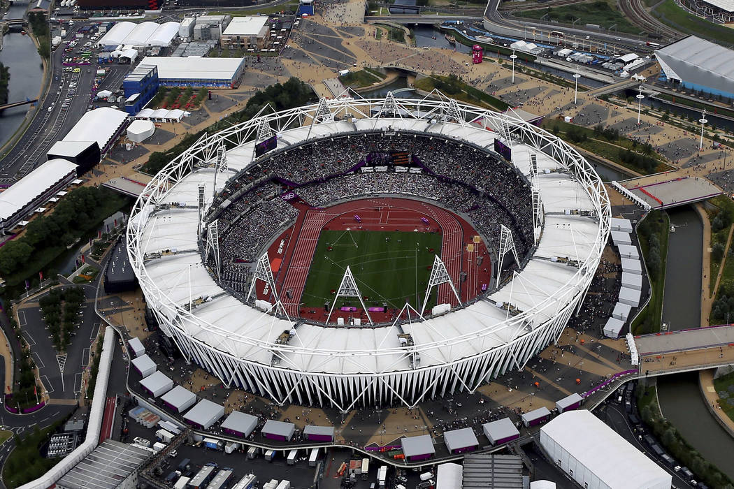 This Aug. 3, 2012, aerial file photo shows the Olympic Stadium at Olympic Park, in London. (AP Photo/Jeff J Mitchell, File)