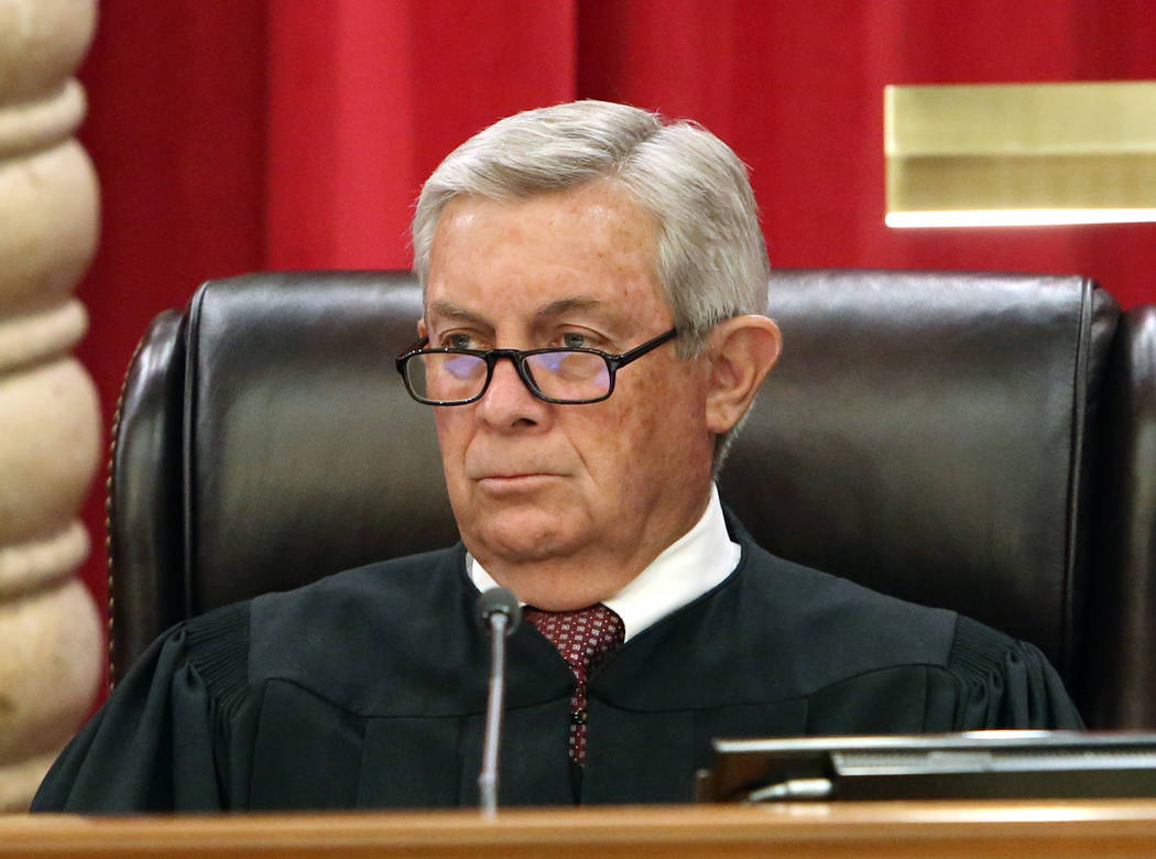 Nevada Supreme Court Justice James Hardesty hears the first oral arguments in the new Nevada Supreme Court building on Monday, April 3, 2017, in Las Vegas. (Bizuayehu Tesfaye/Las Vegas Review-Jour ...