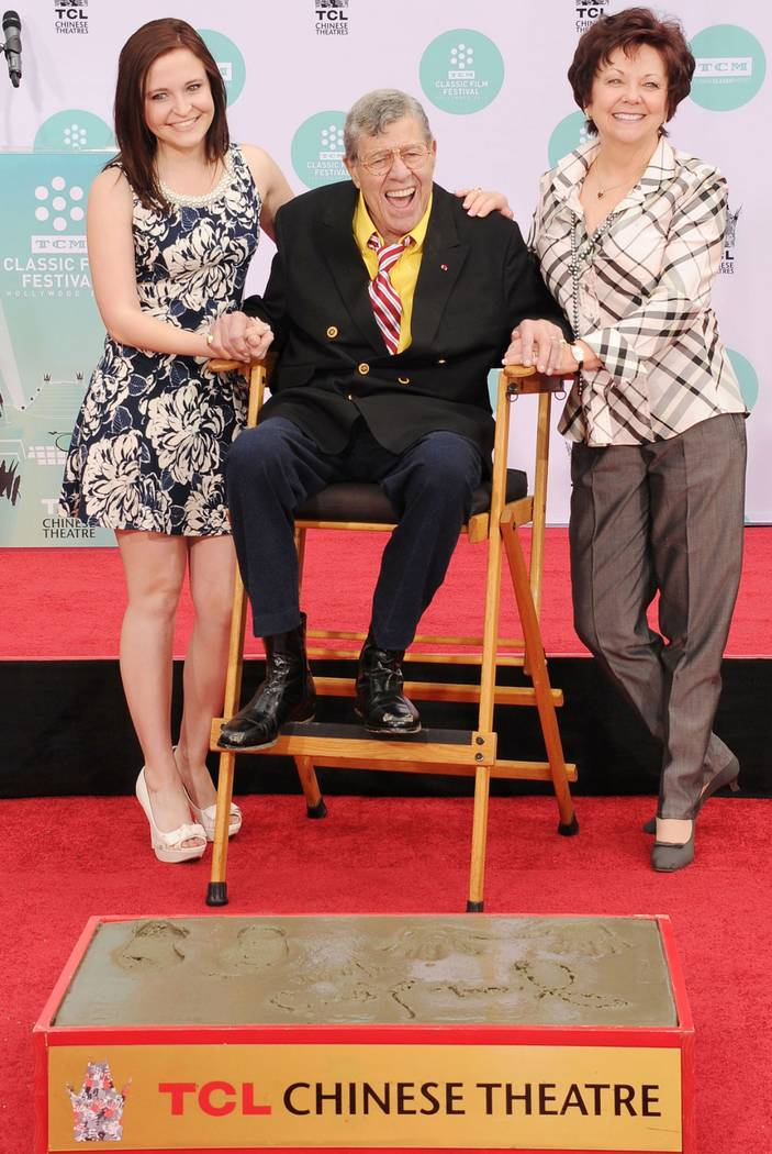 Jerry Lewis is shown with his daughter, Danielle; and wife, SanDee at TCL Chinese Theatre on April 12, 2014 (Lewis family).