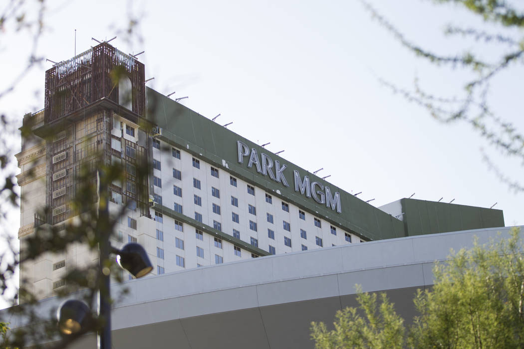 Newly installed Park MGM branding replaces Monte Carlo at the casino-hotel in Las Vegas, Friday, April 13, 2018. Las Vegas Review-Journal @Erik_Verduzco