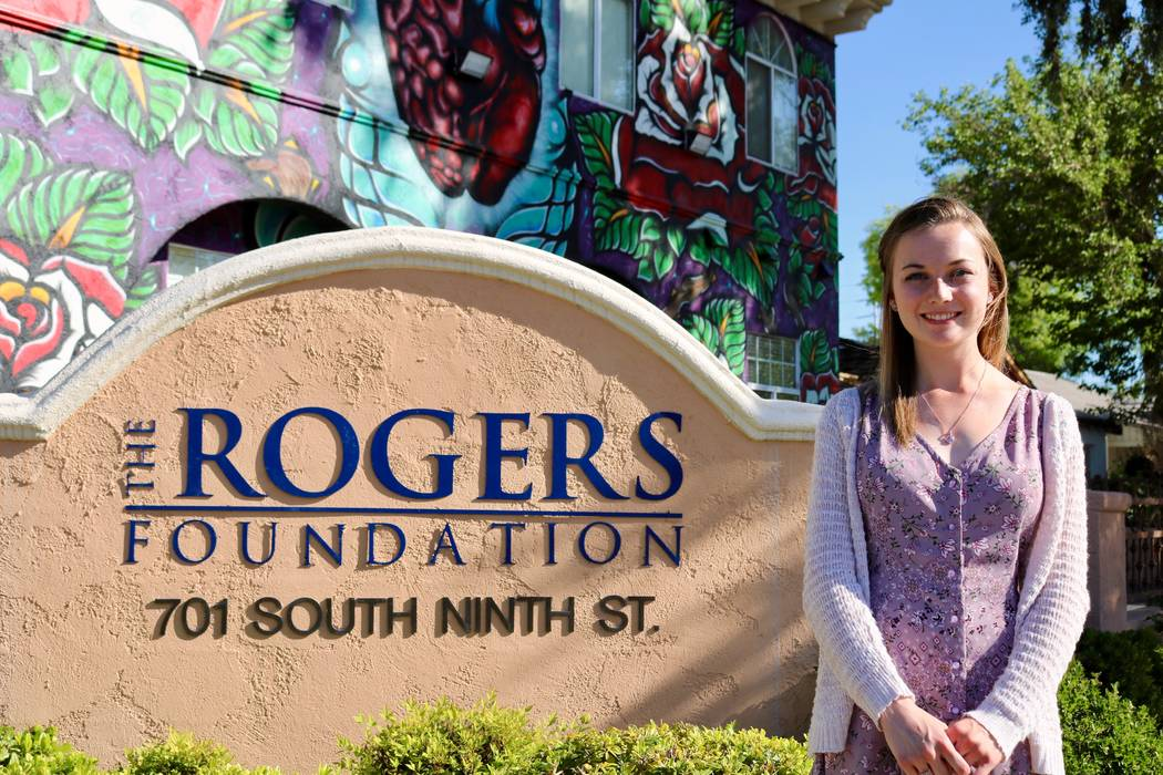 Taylor Kloos, a senior at Northwest Career and Technical Academy, at The Rogers Foundation headquarters in Las Vegas, Monday, May 7, 2018. Kloos received a full ride to Kentucky Wesleyan College f ...