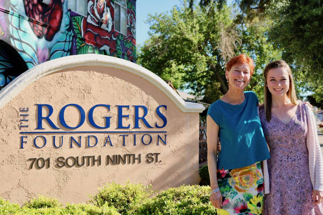 Beverly Rogers, chairman of The Rogers Foundation and Taylor Kloos, a senior at Northwest Career and Technical Academy, are seen at The Rogers Foundation headquarters in Las Vegas, Monday, May 7, ...