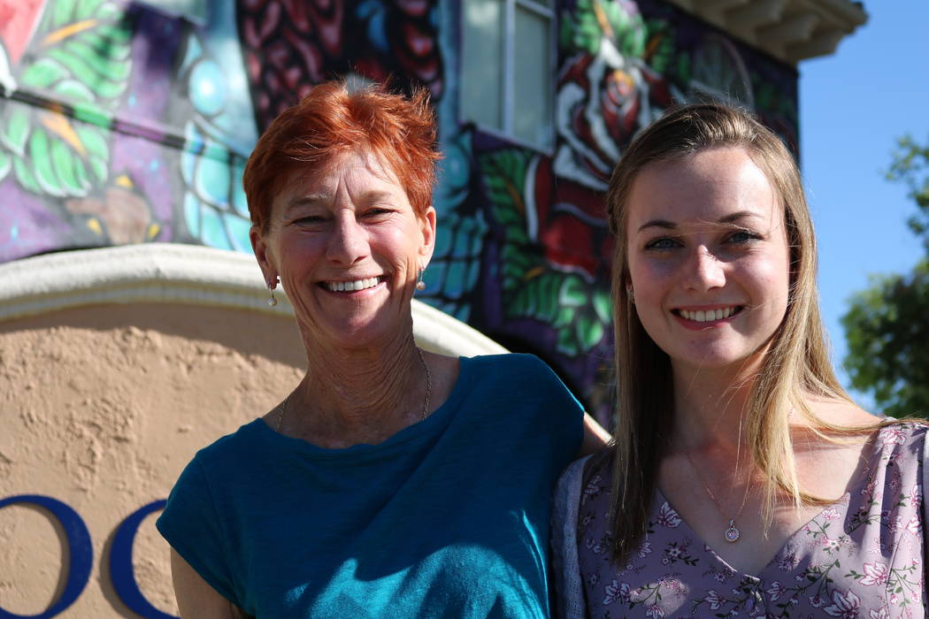 Beverly Rogers, chairman of The Rogers Foundation and Taylor Kloos, a senior at Northwest Career and Technical Academy, at The Rogers Foundation headquarters in Las Vegas, Monday, May 7, 2018. Klo ...