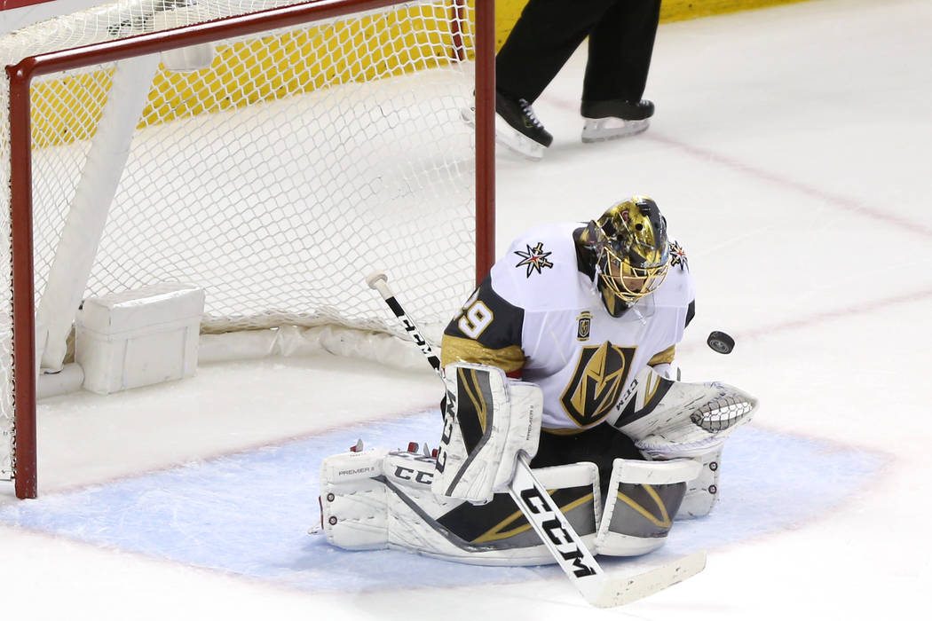 Vegas Golden Knights goaltender Marc-Andre Fleury (29) makes a stop during the third period in Game 6 of an NHL hockey second-round playoff series at the SAP Center in San Jose, Calif., Sunday, Ma ...