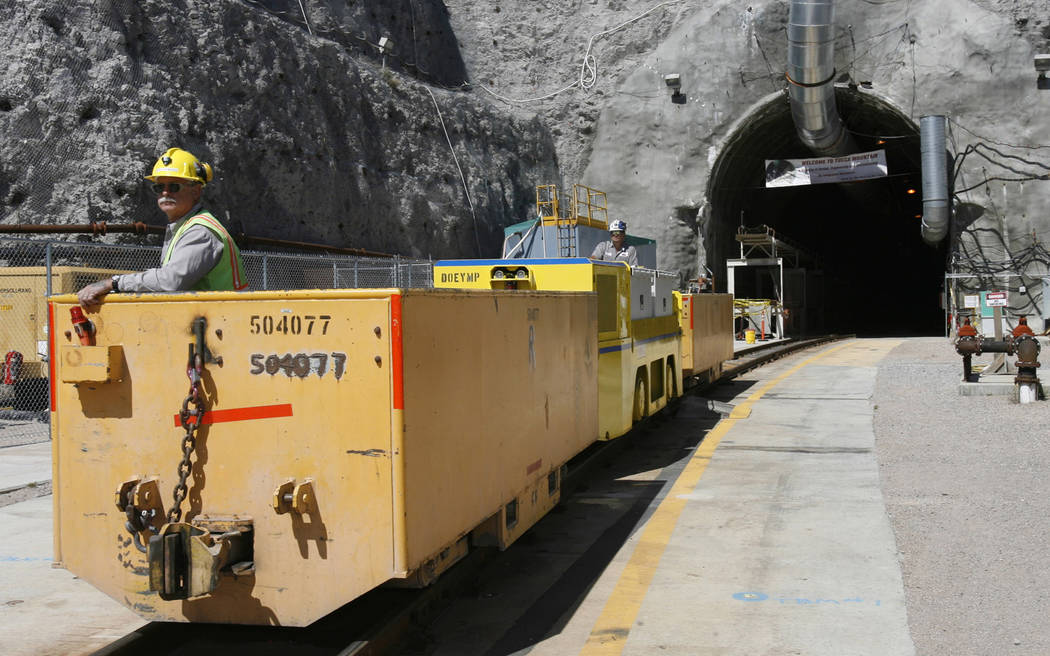FILE - In this April 13, 2006, file photo, an underground train at the entrance of Yucca Mountain in Nevada. The Nuclear Regulatory Commission (NRC) has begun work to prepare for the Trump adminis ...