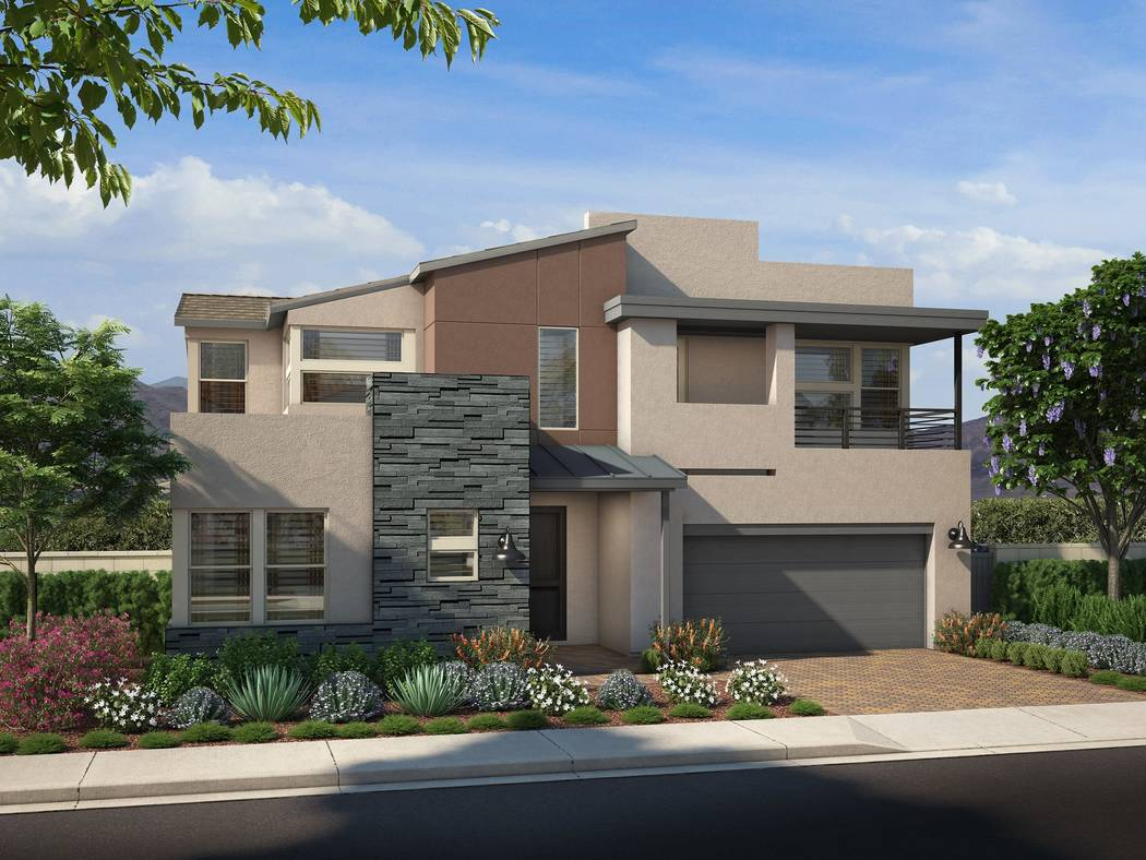Shown is an artist's rendering of Onyx Plan Two in the Desert Contemporary elevation. Pardee Homes will open Onyx at Skye Canyon on June 2. (Pardee Home)