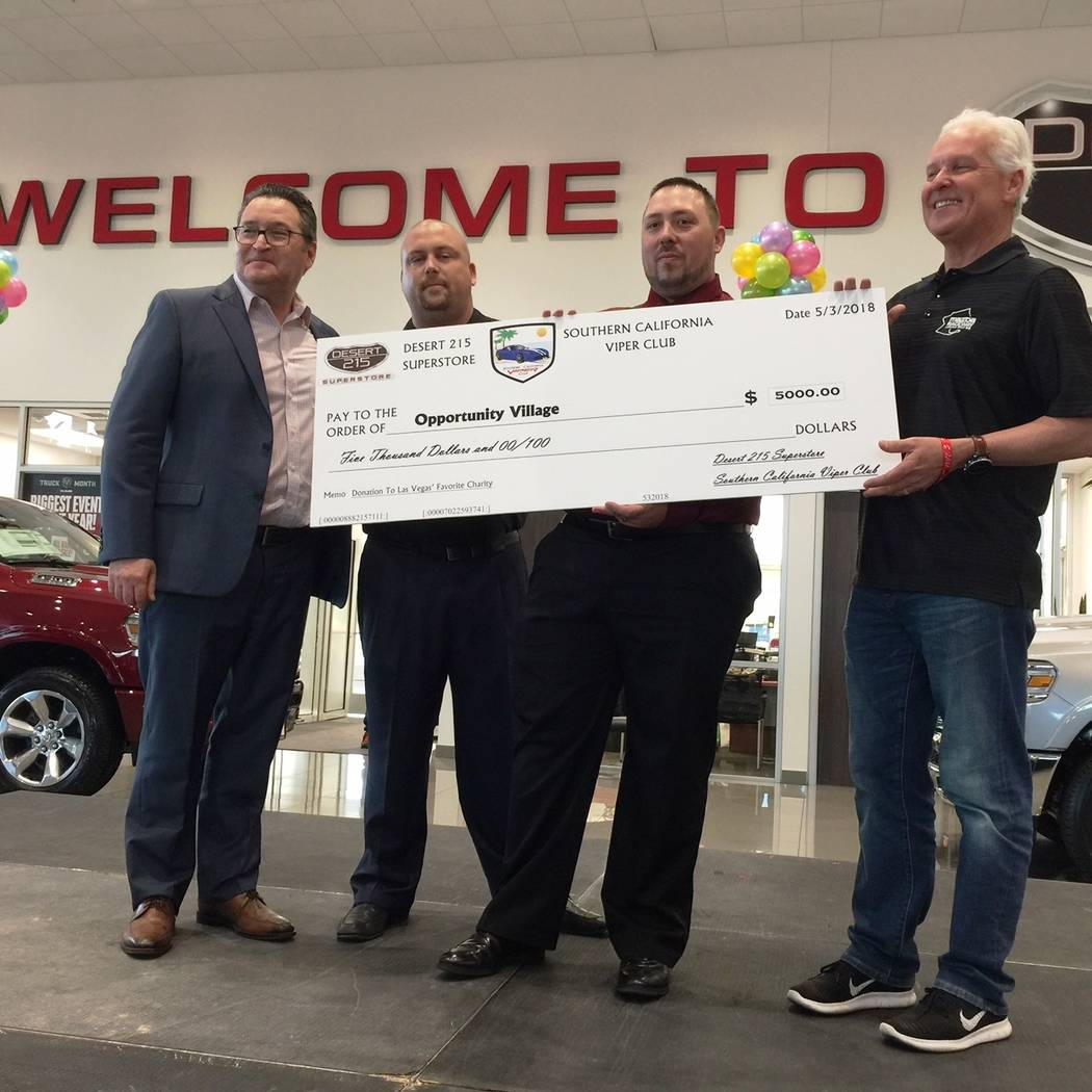 Opportunity Village was the recipient of a donation of more than $5,000 donation after a gathering highlighting the Southern California Viper Club at Desert 215 Superstore in the southwest valley ...