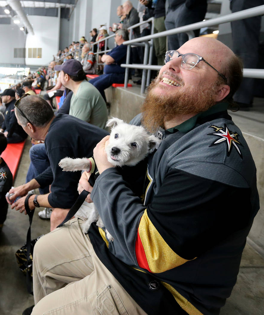 Christopher Green of Las Vegas visits with Bark-Andre Furry during Vegas Golden Knights practice at City National Arena in Las Vegas on Wednesday, May 9, 2018. K.M. Cannon Las Vegas Review-Journal ...