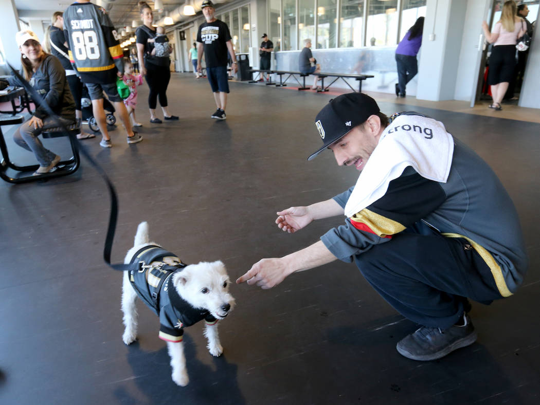 Jay Bryant Chavez of Las Vegas visits with Bark-Andre Furry during Vegas Golden Knights practice at City National Arena in Las Vegas on Wednesday, May 9, 2018. K.M. Cannon Las Vegas Review-Journal ...