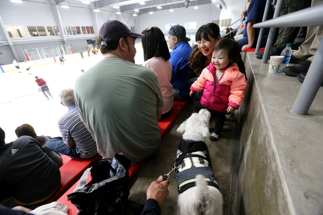 Rina Shibata and her daughter Lynn, 15 months, visit with Bark-Andre Furry during Vegas Golden Knights practice at City National Arena in Las Vegas on Wednesday, May 9, 2018. K.M. Cannon Las Vegas ...