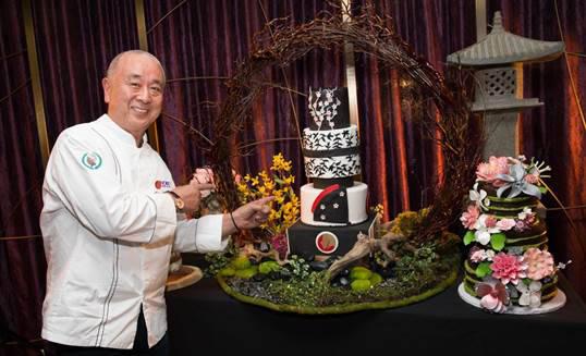Chef Nobu presents the Nobu 5th Anniversary cakes at his Master Series dinner on Thursday, May 10 at Caesars Palace. Photo Credit: Erik Kabik