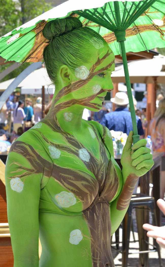 Body paint model Lora Kelsey is shown during Vegas Uncork'd Picnic at the Park festivities at The Park at 3782 S. Las Vegas Blvd. in Las Vegas on Saturday, May 12, 2018. Bill Hughes/Las Veg ...