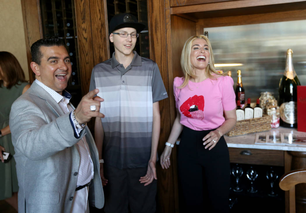 Buddy and Lisa Valastro visit with Michael Laliberte, 14, of Canada at Buddy V's Ristorante at The Venetian during Vegas Uncork'd Friday, May 11, 2018. K.M. Cannon Las Vegas Review-Journal @KMCann ...