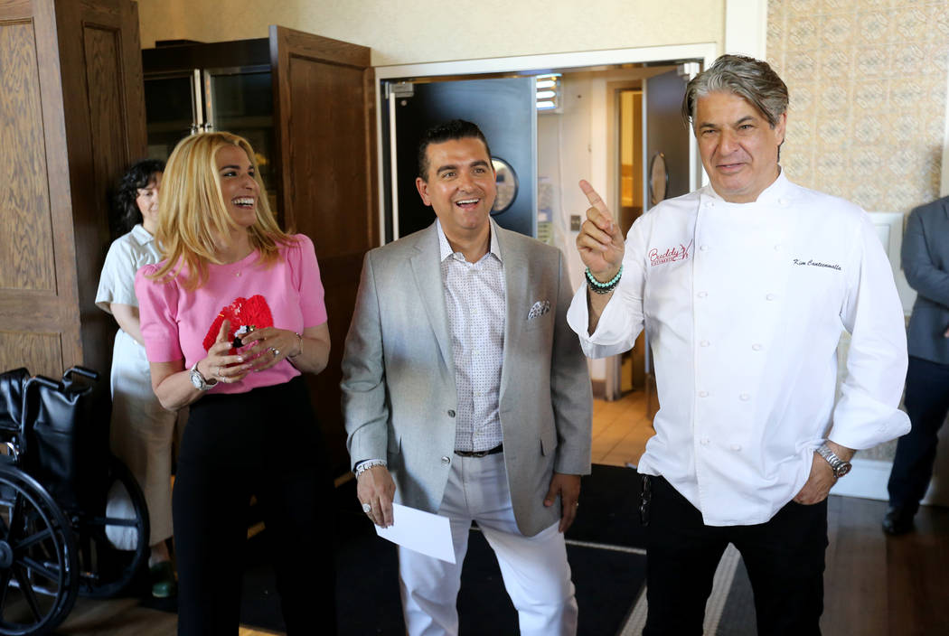 Buddy and Lisa Valastro, left, and restaurateur Kim Canteenwalla talk to fans at Buddy V's Ristorante at The Venetian during Vegas Uncork'd Friday, May 11, 2018. K.M. Cannon Las Vegas Review-Journ ...