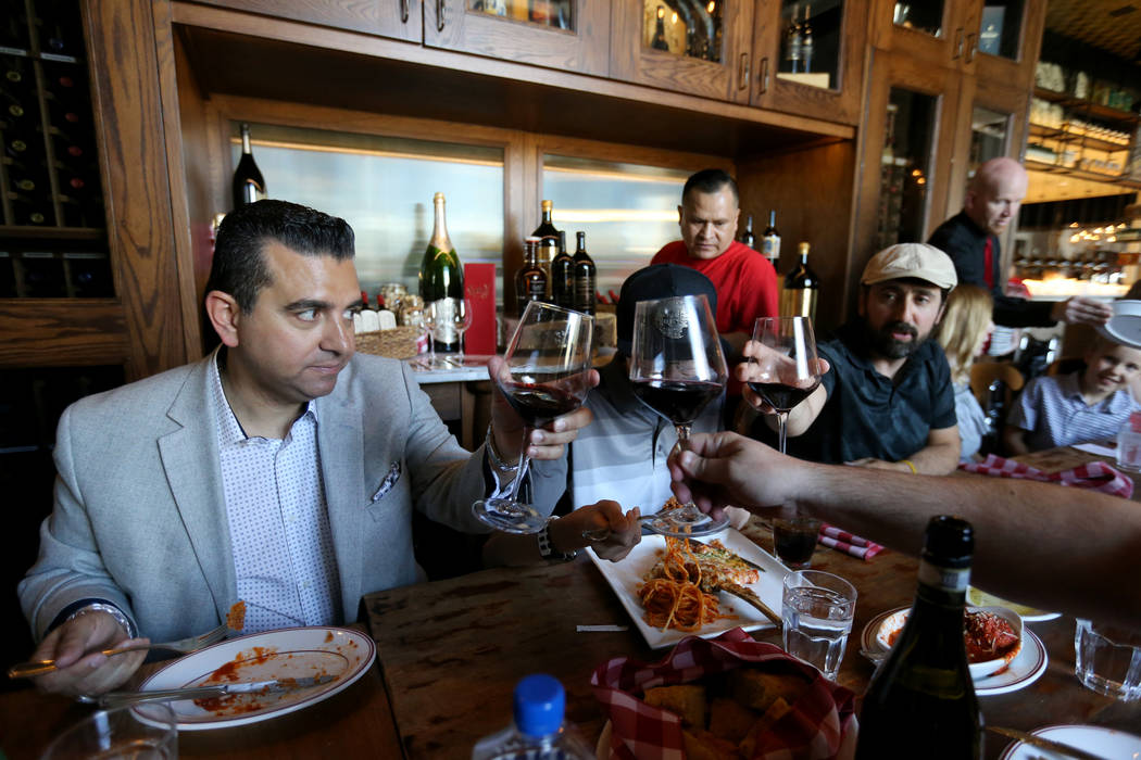 Buddy Valastro, left, visits with dinners at Buddy V's Ristorante at The Venetian during Vegas Uncork'd Friday, May 11, 2018. K.M. Cannon Las Vegas Review-Journal @KMCannonPhoto
