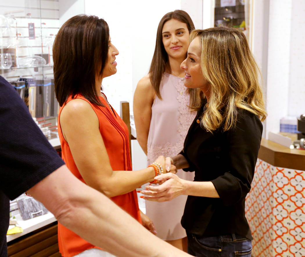 Giada De Laurentiis, right, greets Valarie Segarra, left, and Segarra's neice Shelby Minarik of Las Vegas at Pronto by Giada at Caesars Palace during Vegas Uncork'd Friday, May 11, 2018. K.M. Cann ...