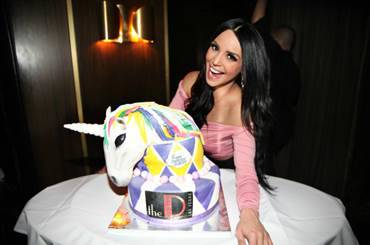 Scheana Shay is shown with her custom-made unicorn cak at D Las Vegas on Monday, May 7, 2018. (The D Las Vegas)