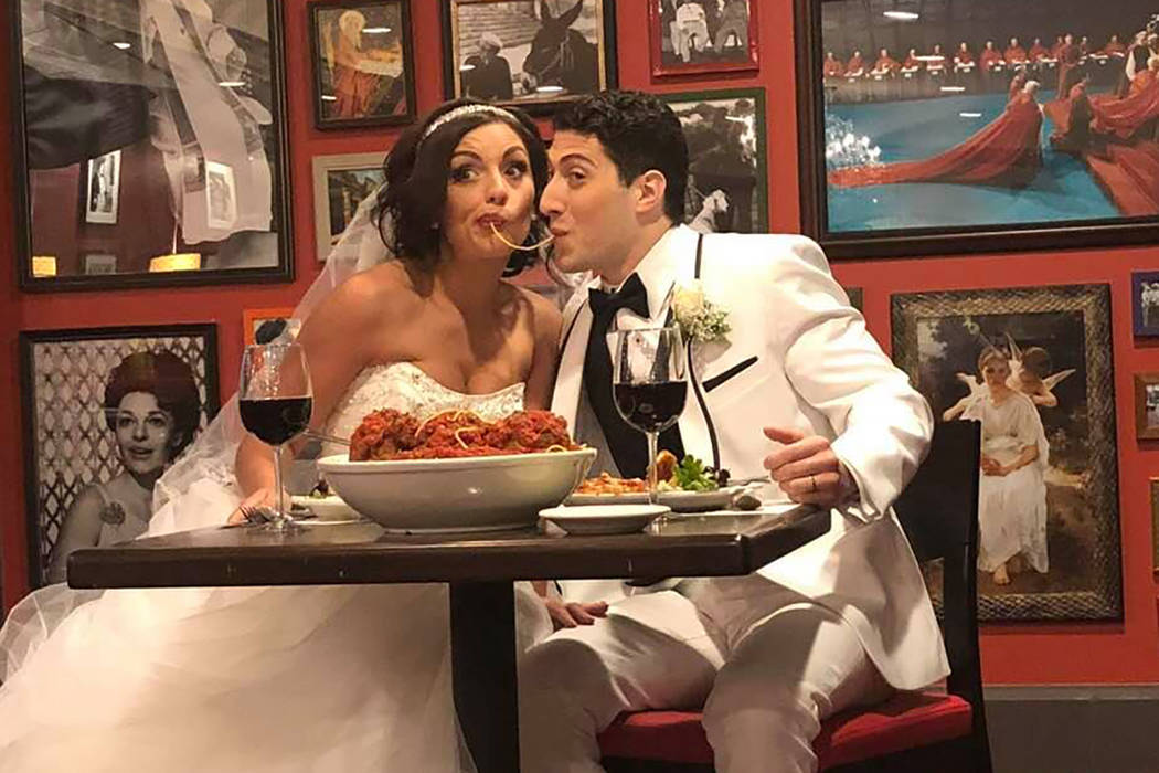 """Rachel Swindler and A promotional photo posted on Lauren's Facebook page shows Vegas performers Rachel Swindler and Joseph BenShimon, in full costume, sharing a spaghetti noodle, """"Lady and the T ..."""
