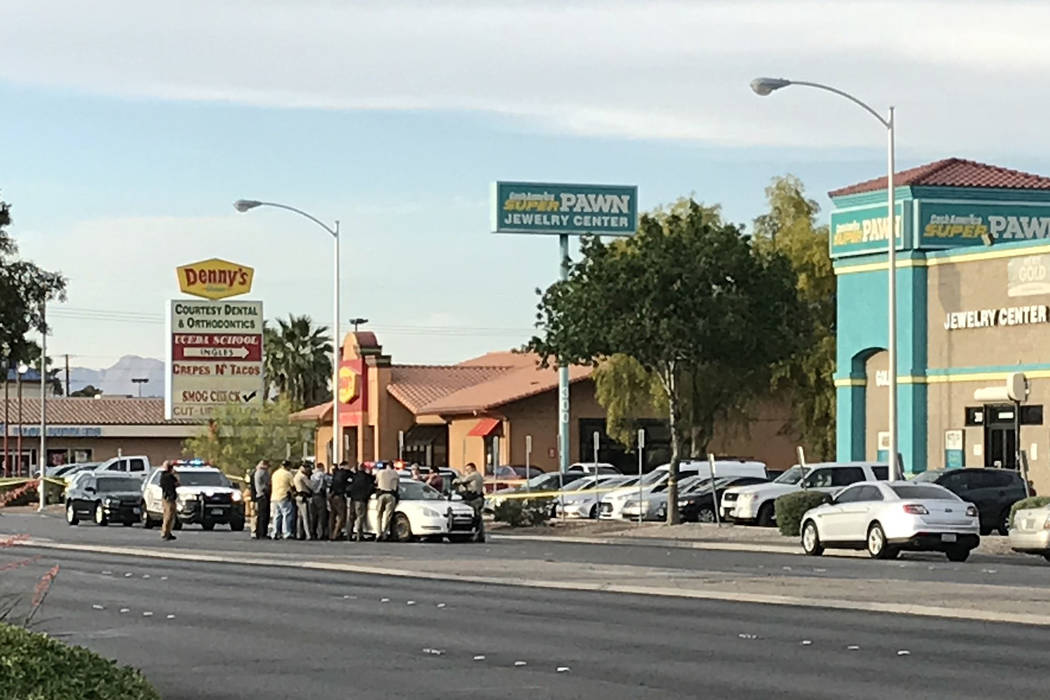 Las Vegas police investigate a shooting in the the area of Stewart Avenue and Nellis Boulevard on Tuesday, May 8, 2018. (Blake Apgar/Las Vegas Review-Journal)