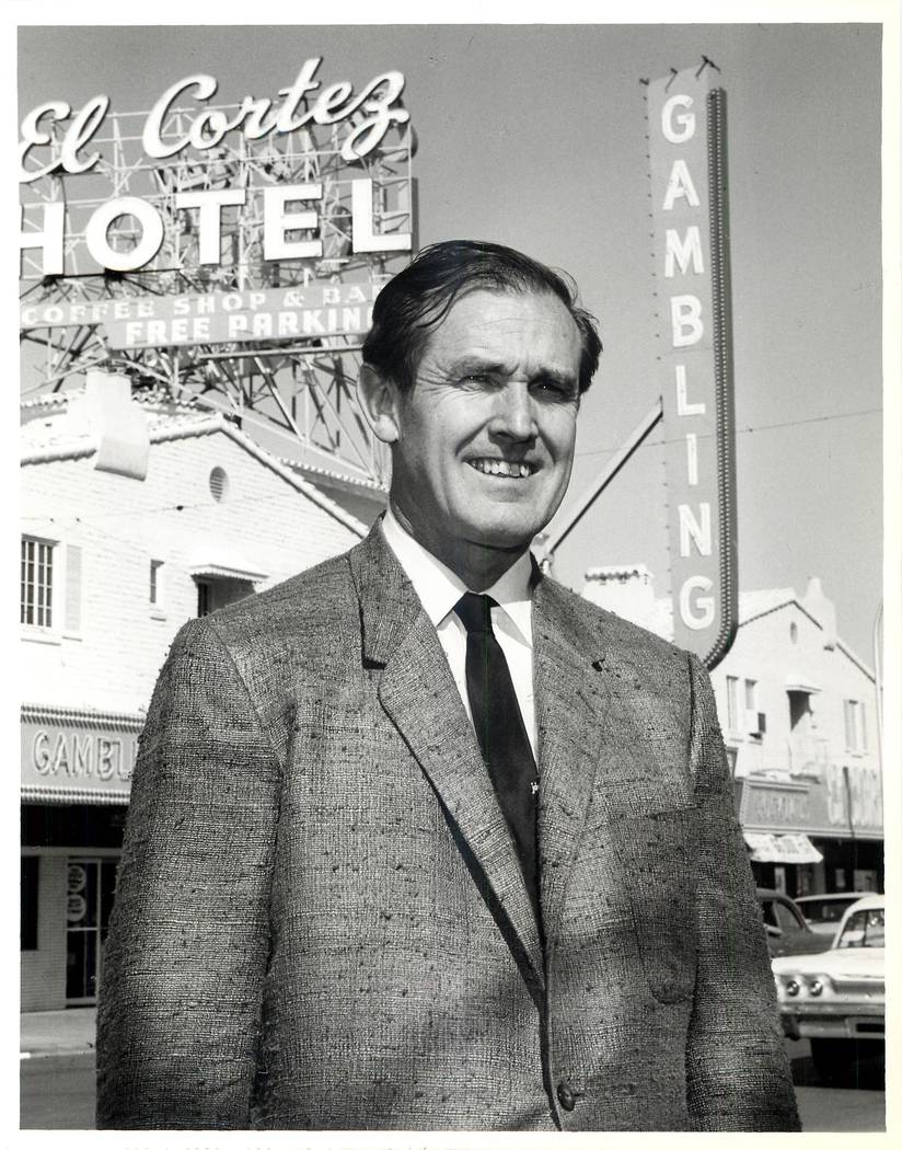 Jackie Gaughan in front of the El Cortez, which filled a full city block when it opened on Nov. 7, 1941. (Las Vegas News Bureau)