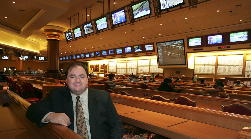 Michael Gaughan sits in the Sports Book at the South Coast Casino in an undated photo. (Las Vegas Review-Journal)