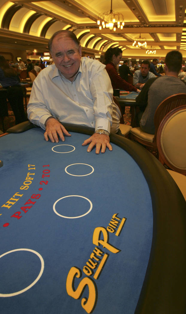 Michael Gaughan sits at a Blackjack table, which displays the new South Point logo, Monday, Oct. 23, 2006. (Las Vegas Review-Journal)