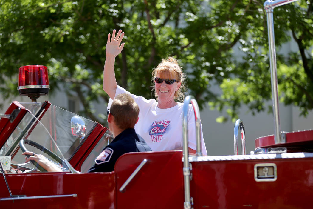 Debbie Braatz-Wilby, who shares a birthday with Las Vegas, rides in the Helldorado Days parade in downtown Las Vegas Saturday, May 12, 2018. K.M. Cannon Las Vegas Review-Journal @KMCannonPhoto