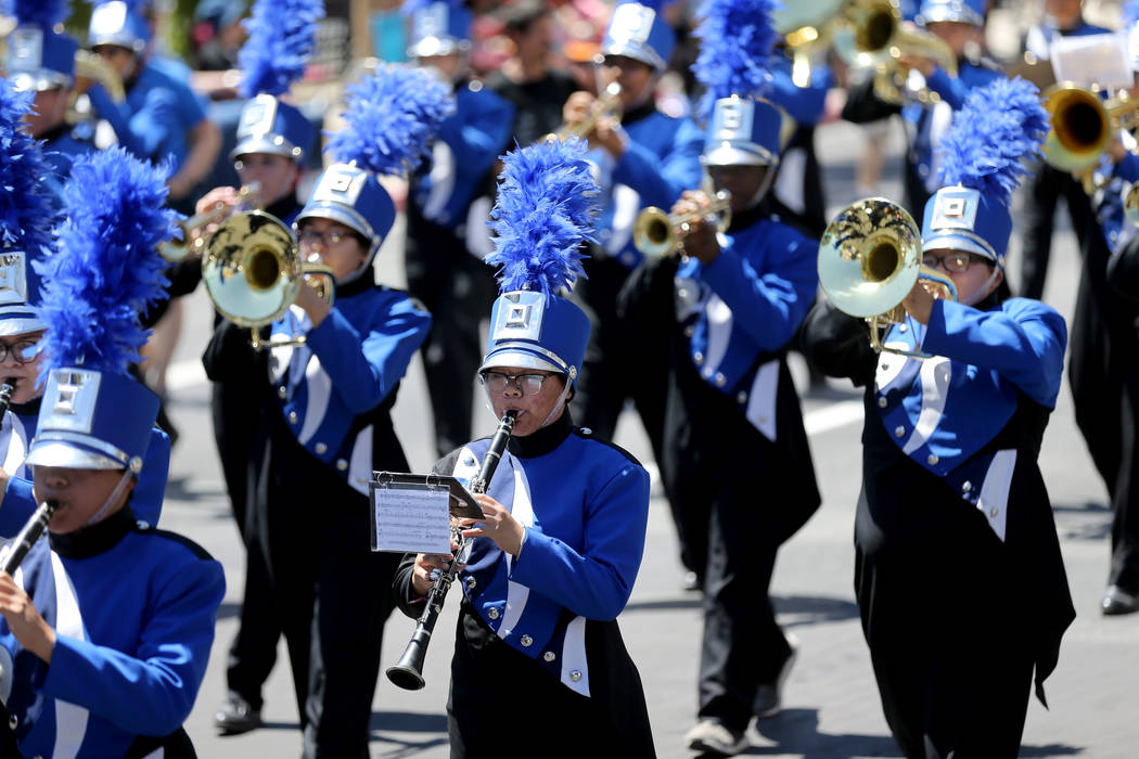 Members of the Desert Pines High School Jaguar Marching Band perform in the Helldorado Days parade in downtown Las Vegas Saturday, May 12, 2018. K.M. Cannon Las Vegas Review-Journal @KMCannonPhoto