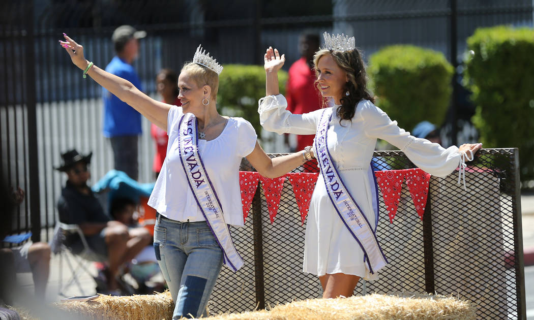 Ms. Nevada International Rosy Calvin, left, and Mrs. Nevada International Laurie Longin in the Helldorado Days parade in downtown Las Vegas Saturday, May 12, 2018. K.M. Cannon Las Vegas Review-Jou ...